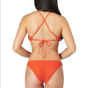 Lucky Brand Swim - Lucky Brand Swimsuit bikini crochet orange lace up